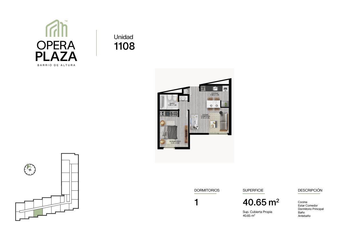 Opera Plaza Torre 1, Piso 1, Unidad 8