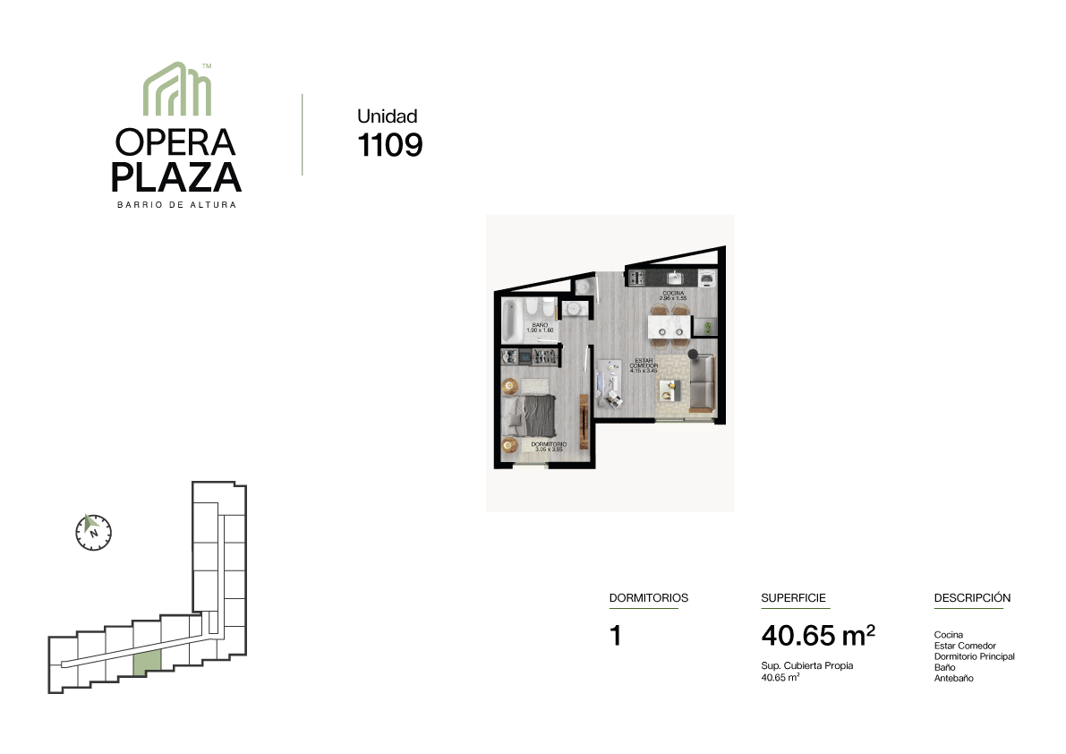 Opera Plaza Torre 1, Piso 1, Unidad 9