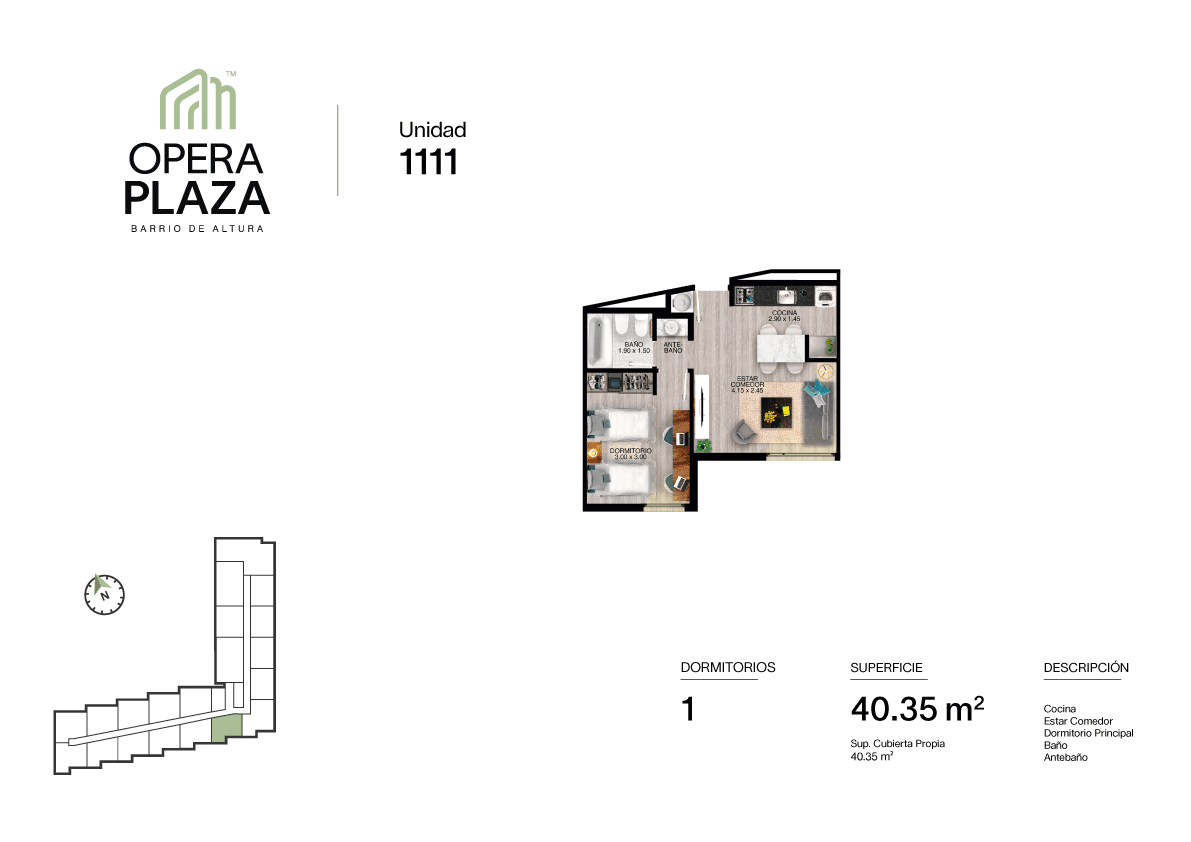 Opera Plaza Torre 1, Piso 1, Unidad 11