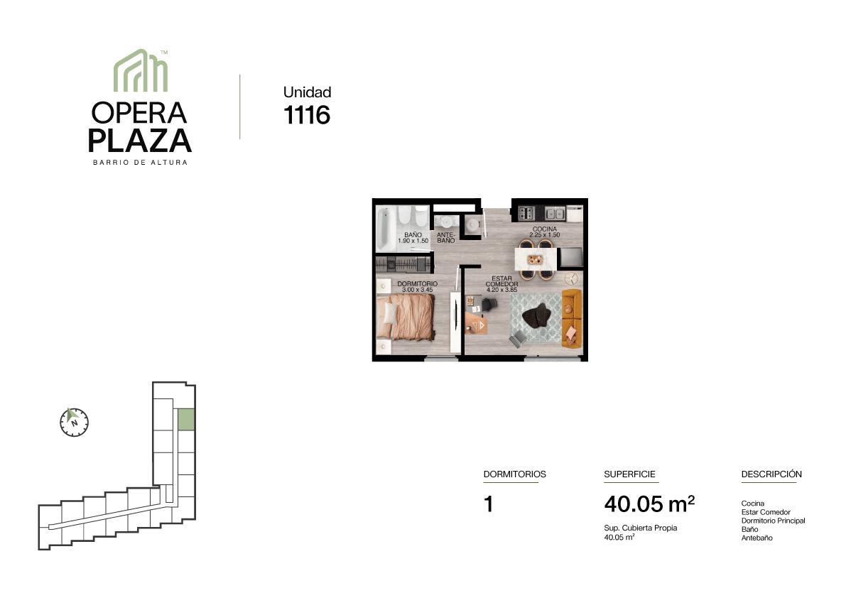Opera Plaza Torre 1, Piso 1, Unidad 16